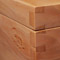 Pear wood jewelry box hand cut dovetail joint detail view
