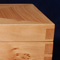Pear wood jewelry box with hand cut dovetail wood joints